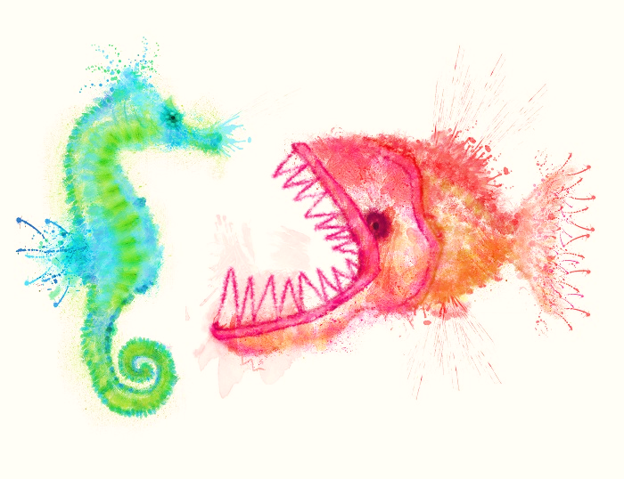 Finnison the seahorse is attacked by the piranha (inner obstacle) of Perfection Created by natsuhisui